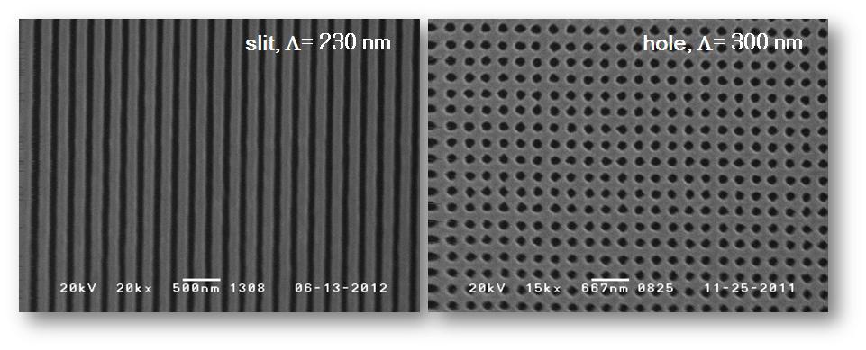 SEM image of metallic nano-structure (a) 1D Ag slit array (Λ = 230 nm, F= 0.60), (b) 2D Ag Hole array (Λ = 300 nm)