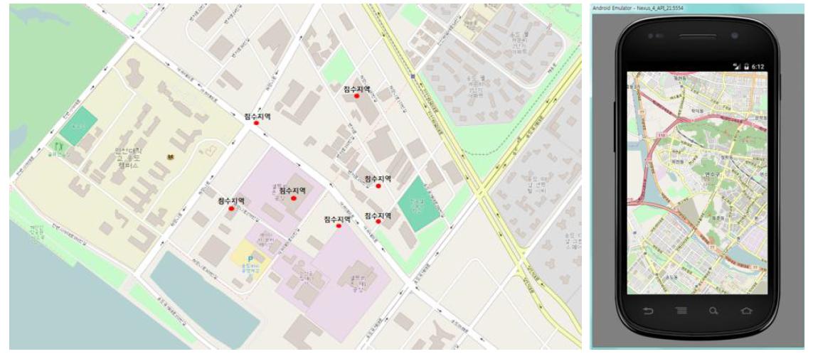 오픈스트리트 맵을 활용한 인천 송도 지역 시각화 연동 예시