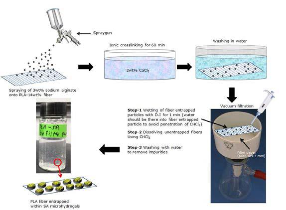 하이드로젤 마이크로입자 내에 포집된 나노섬유의 제조과정
