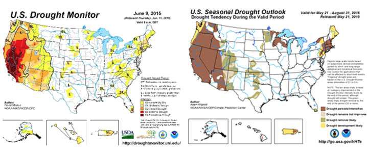 미국 국립해양대기청의 가뭄전망 서비스(예시)