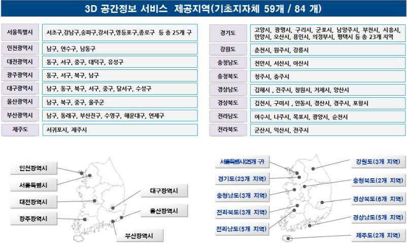 브이월드 3D 공간정보 서비스 제공지역