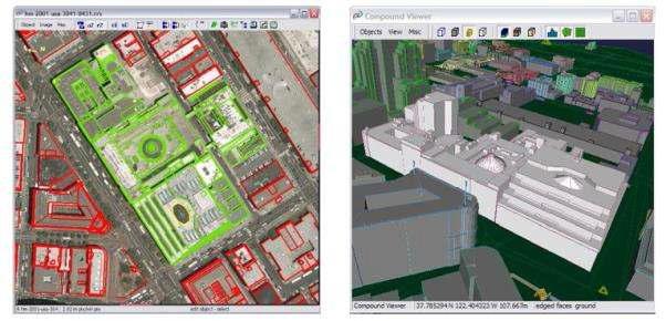 건물을 수작업 도화하여 모델링
