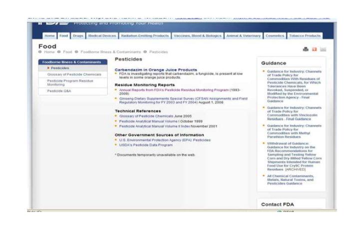 미국 FDA의 잔류농약 등의 모니터링 데이터베이스