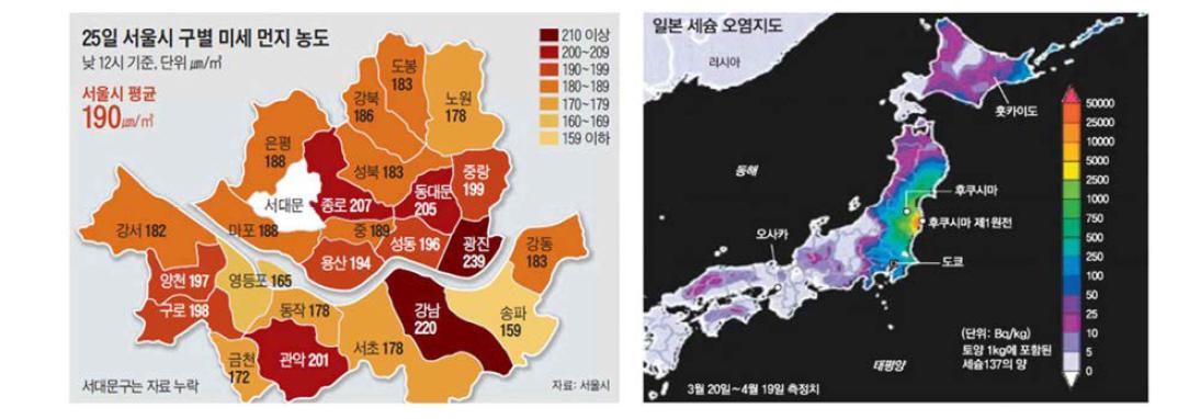 GIS를 이용한 오염지도 및 위해도지도 사용 예