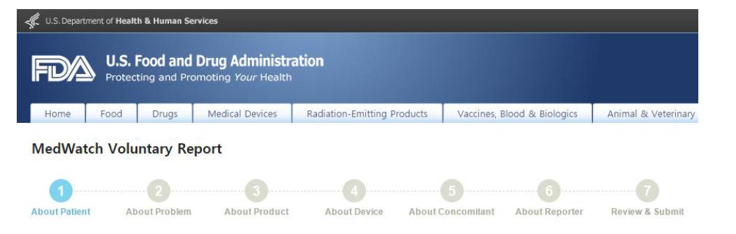 MedWatch 온라인 보고 (의료전문가)