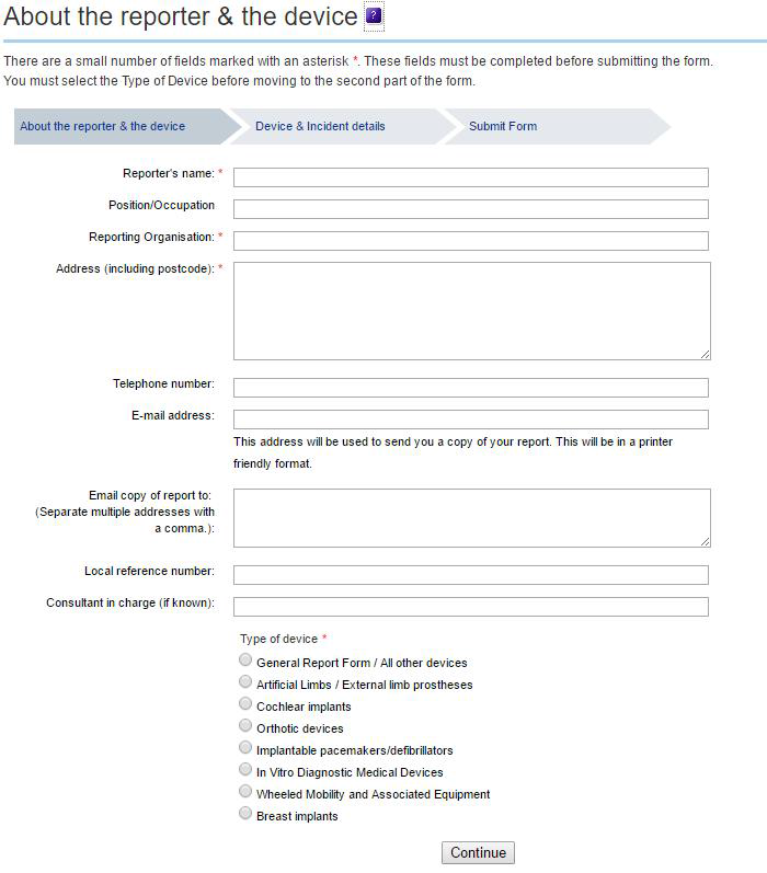 MHRA Submit form (reporter and device)