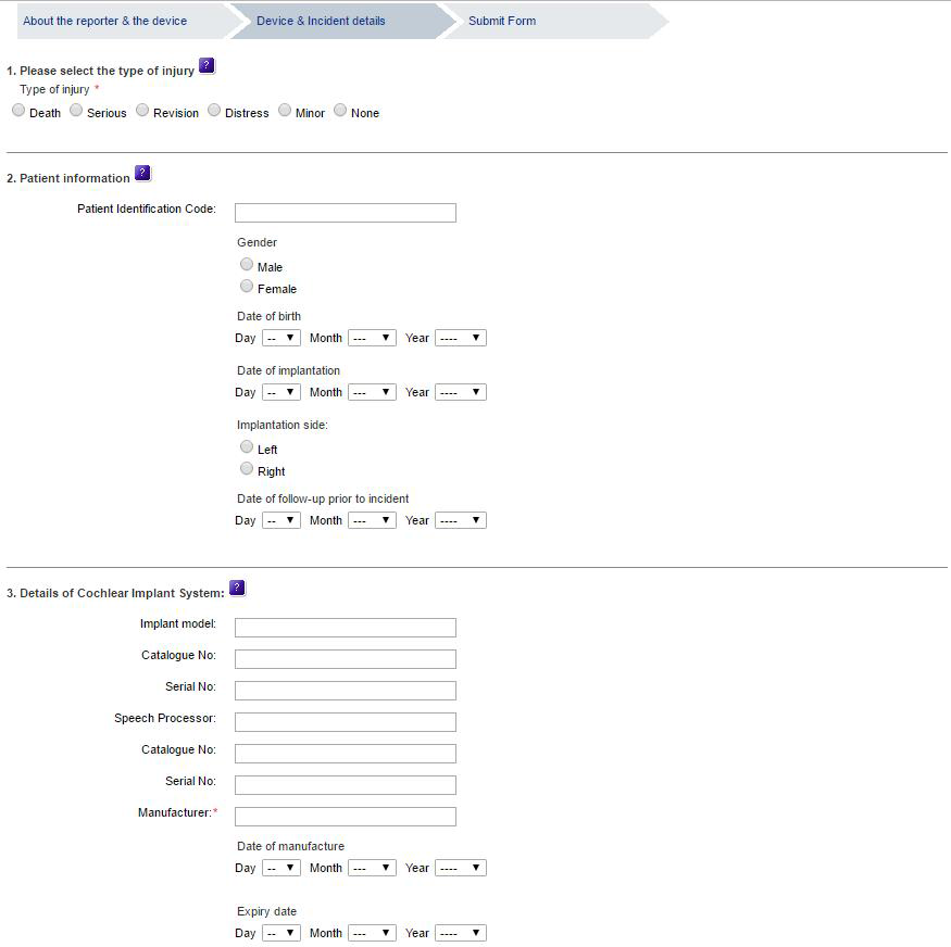 MHRA Submit form (device and incident details)