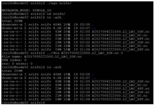 DTU를 수행 중인 SciFS 클라이언트 캡처 화면