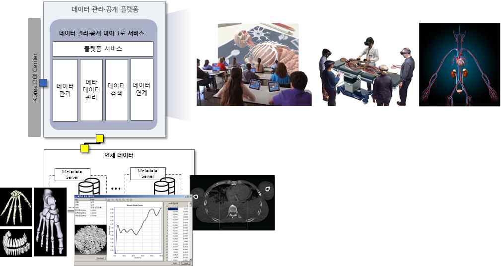 데이터 관리·공개 플랫폼과 인터랙티브 2D, 3D 인체 해부모형 VR 시스템 연계 개념도