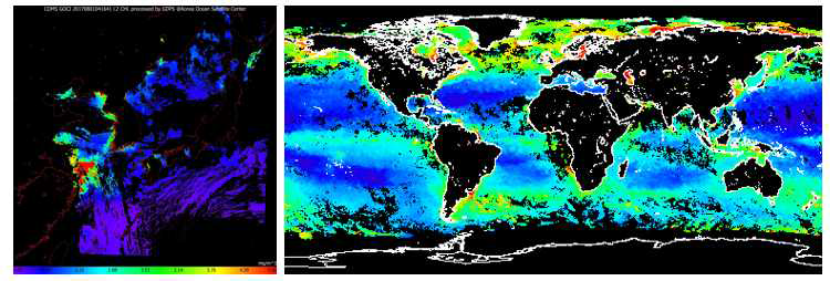 GOCI 이미지(왼쪽)와 Modis aqua 이미지(오른쪽) 샘플