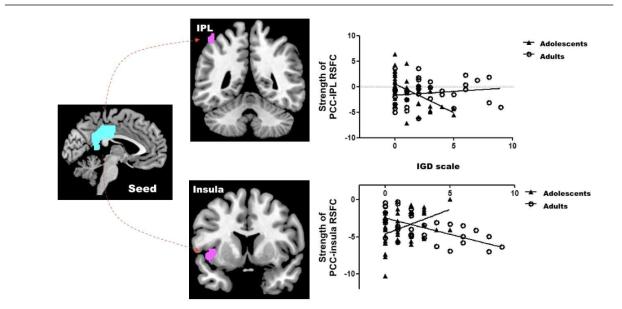연령 집단과 IGD 척도 점수와의 상호작용 효과를 보이는 뇌 영역