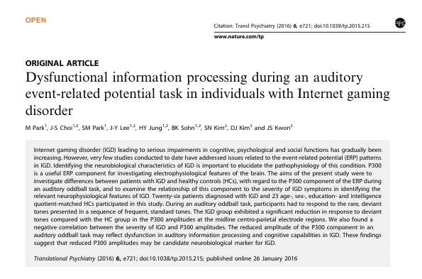 Park et al., Dysfunctional information processing during an auditory event-related potential task in individuals with Internet gaming disorder (Park et al., Translational Psychiatry, 2016; 6:e721