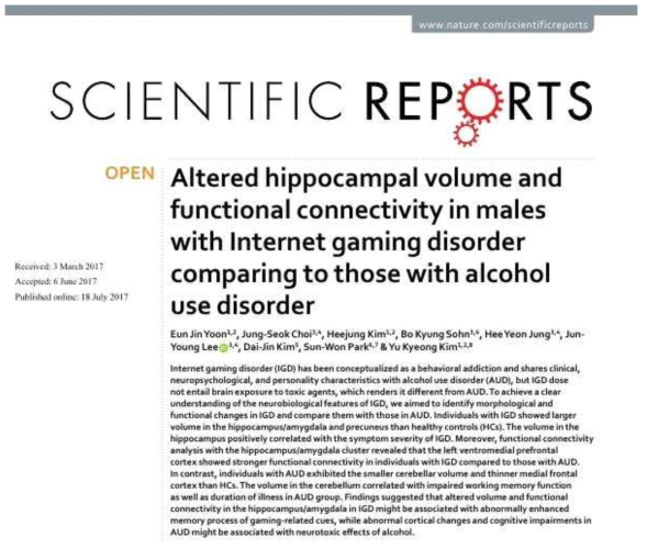 Yoon and Choi et al., Altered hippocampal volume and functional connectivity in males with Internet gaming disorder comparing to those with alcohol use disorder. Scientific Reports. 2017; 7; 5144.