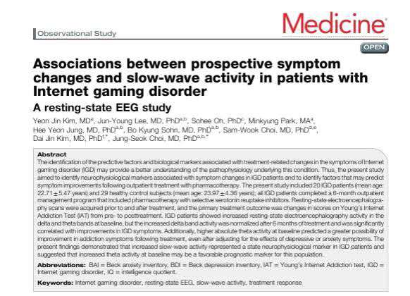 Kim et al., Associtation between prospective symptom changes and slow-wave activity in patiens with Internet gaming disorder: A resting-state EEG study, Medicine, 2017 Feb;96(8):e6178.