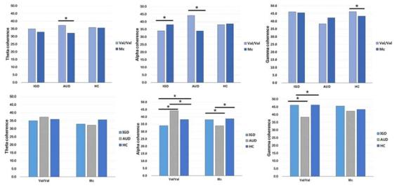 인터넷·게임 중독, 알코올 중독, 정상 대조군에서 유전자형에 따른 안정상태 뇌 기 능 연결성 패턴의 차이