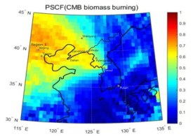 2D-PSCF plot of particulate PAHs emitted from biomass burning.