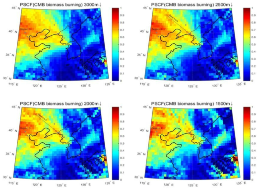 3D-PSCF plot of particulate PAHs from biomass burning with varying threshold heights