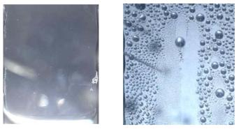 응축 현상 가시화(좌; 일반 SUS 표면, 우; 테플론 코팅 표면)