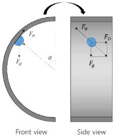 수평관내에서 액적이 위치하는 각도, α에 따른 힘의 평형.