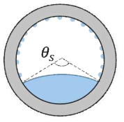 수평관내 응축 열전달 현상. 관의 하부에서는 응축수가 축적되어 성층을 이루고, 성층을 제외한 상부에서는 적응축이 일어난다.