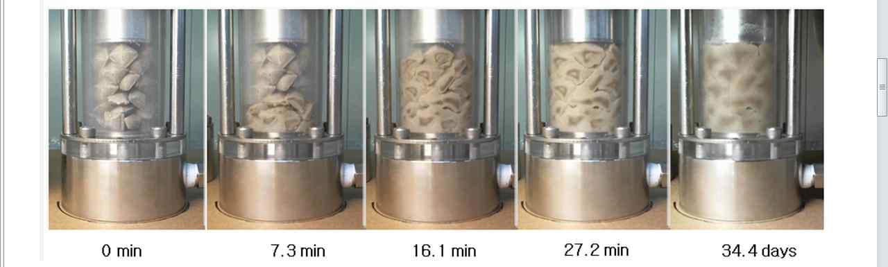 다층펠렛(multi layers of pellets)에서의 구속체적 팽윤시험