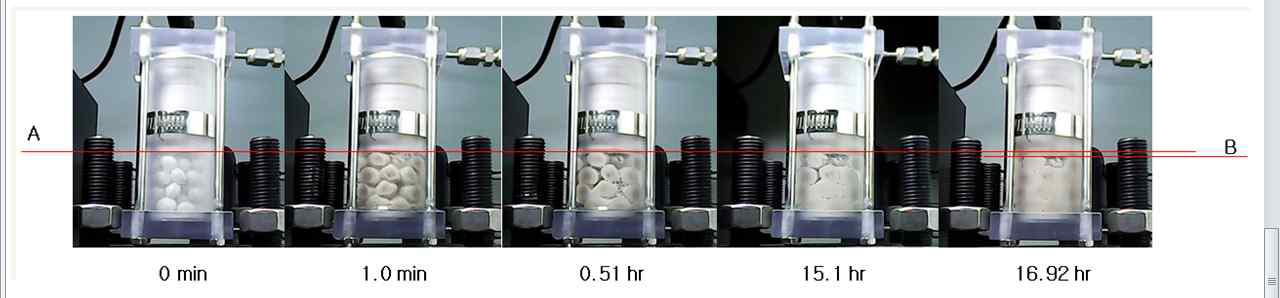 펠렛-블록층(pellets-block layer)에서의 구속체적팽윤 시험 (아래쪽은 건조밀도 1.16 Mg/m3 펠렛층 ,위쪽은 건조밀도 1.6 Mg/m3 블록).