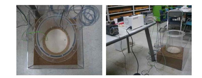 물 유입 실험을 위한 완충재 결합 및 센서 연결 과정