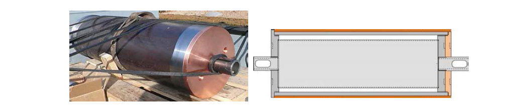 1/3 규모 저온분사코팅 시제품의 단면 설계도와 제작 모형