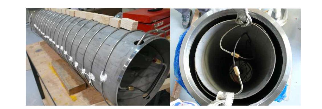 처분용기 삽입용 시즈히터의 제작 및 주철 용기 삽입 모습