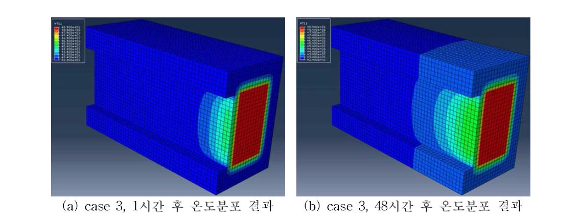case 3 모델의 시간에 따른 온도분포 해석결과