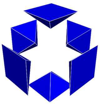 Re-generation 알고리즘을 이용하여 생성된 6개의 오면체로 이루어진 계측지점에서의 모델 메쉬