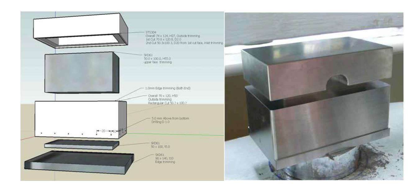 열전도 측정용 압축 블록 제작 몰드 설계도와 제작품
