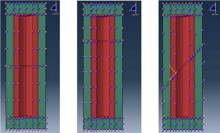 암반전리방향에따른해석모델 (좌부터 case 1, 2, 3)