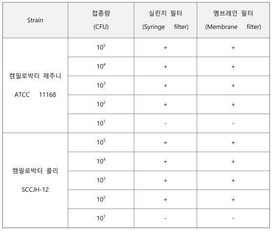실린지 필터와 멤브레인 필터의 검출감도 비교