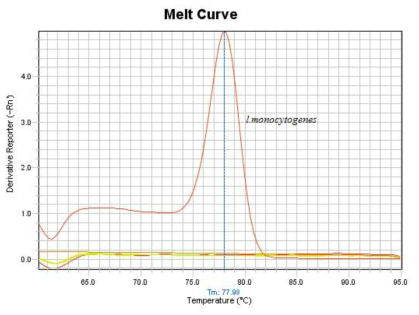 Melting curve analysis of the amplification products of L. monocytogenes specific hly gene in specificity test.
