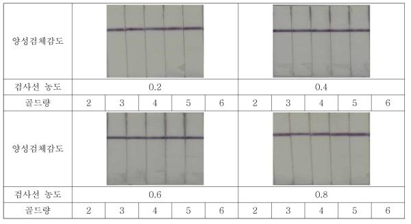 Listeria의 검사선 및 금-축합골드량 별 양성감도 테스트