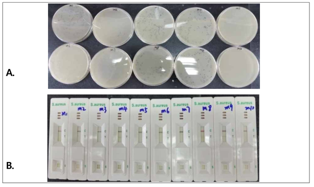 Validation results for milk inoculated with S. aureus ATCC 12600