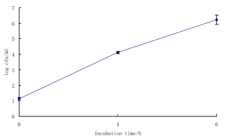 Growth curve of B. cereus in BcEM at 30℃ for 6h.