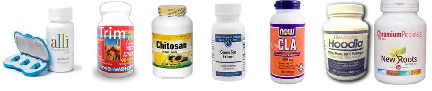 미국의 체중 조절 관련 식이보조제 제품들
