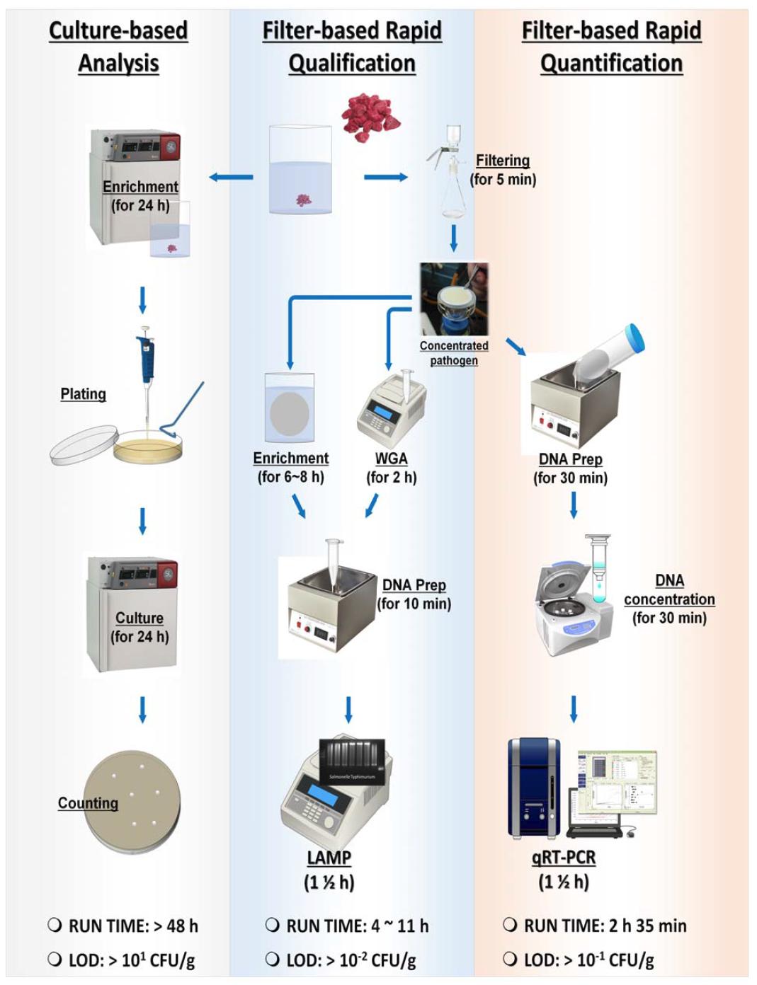 기존 배지배양법과 본 연구에서 개발하는 식중독균 검출법의 workflows 및 각 기술의 검출시간과 검출한계