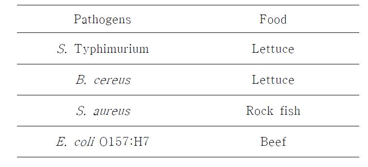 본 실험에서 사용된 식품 및 식중독균