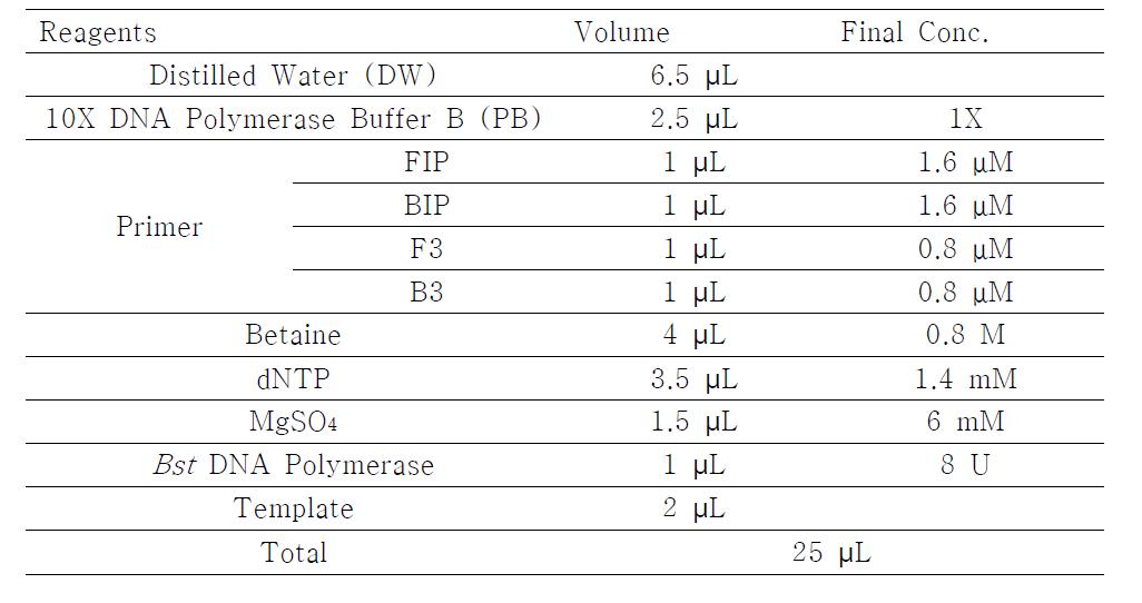LAMP-LFA에 사용된 PCR 용액의 성분 조건