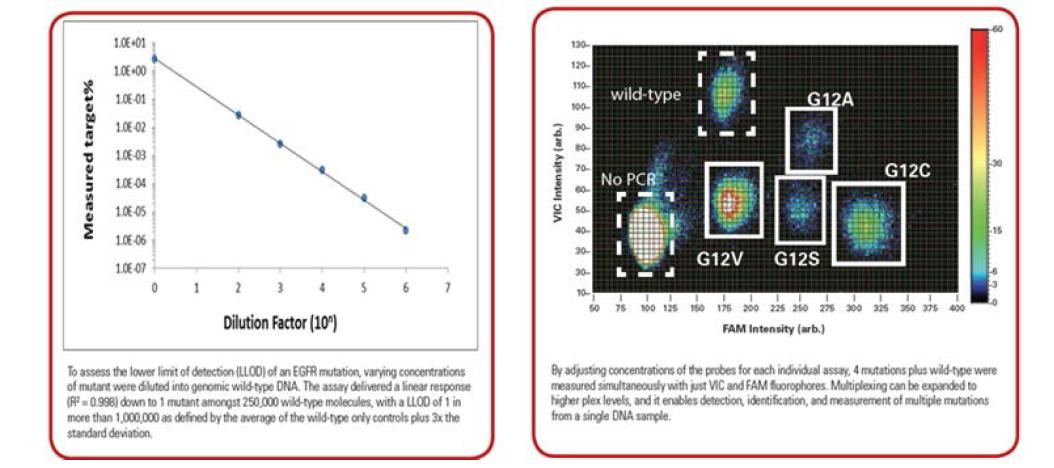 RainDrop Digital PCR의 민감도와 Multiplex performance