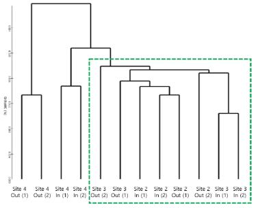 샘플들에 대한 군집분석 (Clustering analysis)결과 (UPGMA dendrogram)