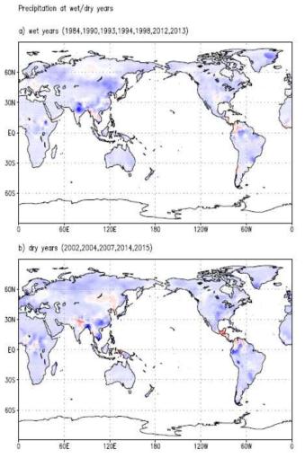 몽골지역에 특이강수 현상이 나타났을 때의 강수분포