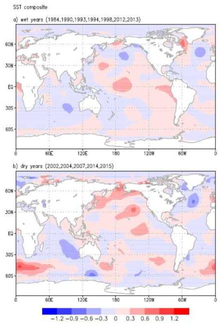 몽골지역에 특이강수 현상이 나타났을 때의 해수면 온도 분포