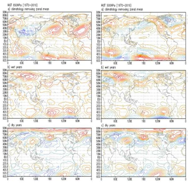 몽골지역에 특이강수 현상이 나타났을 때의 지위고도 분포
