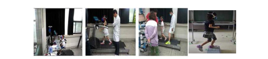 한국과 일본의 어린이 활동 별 호흡량 측정 모습