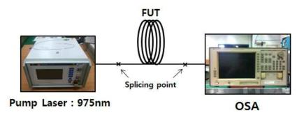 광섬유의 발진 특성 측정 실험 셋업