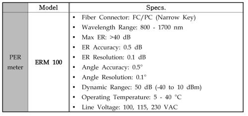 Polarization Extinction Ratio 특성 평가를 위한 측정 장비 사양